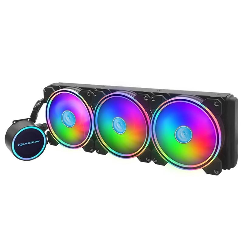 POLARICEFLOW 120mm ARGB Watercooling CPU Radiator PC Computer Fan RGB Water Cooler for lga 1151/AM2/AM3 +/AM4