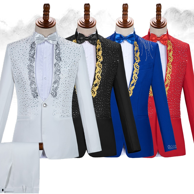 w billings the new england psalm singer England Style Formal Men's Suits Rhinestones Blazers Pants Sets Singer Host Concert Male Stage Outfits Wedding Party Dress DT756