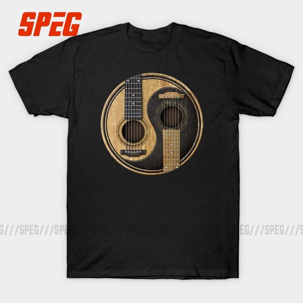 Camisa de manga curta de algodão o pescoço hip hop estilo tshirt para homens speg guitarras acústicas yin yang música t camisa personalizada