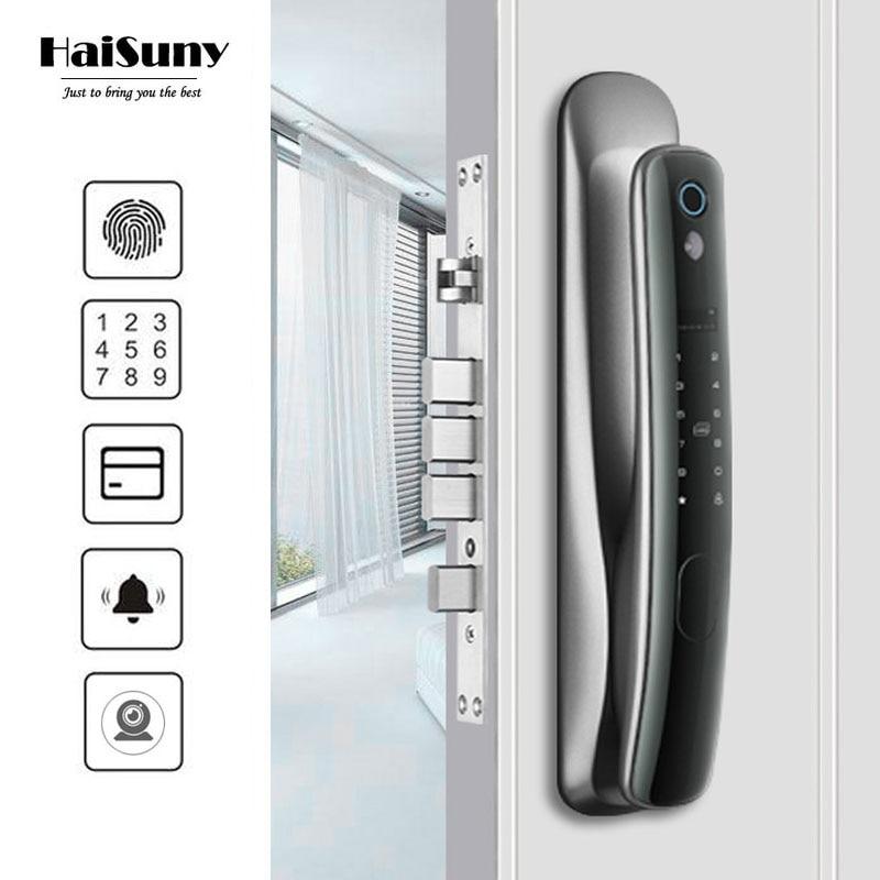 Promo HAISUNY Automatic Biometric Fingerprint Lock Electronic Door Lock WiFi APP Doorbell Camera Smart Lock Digital Password Locks