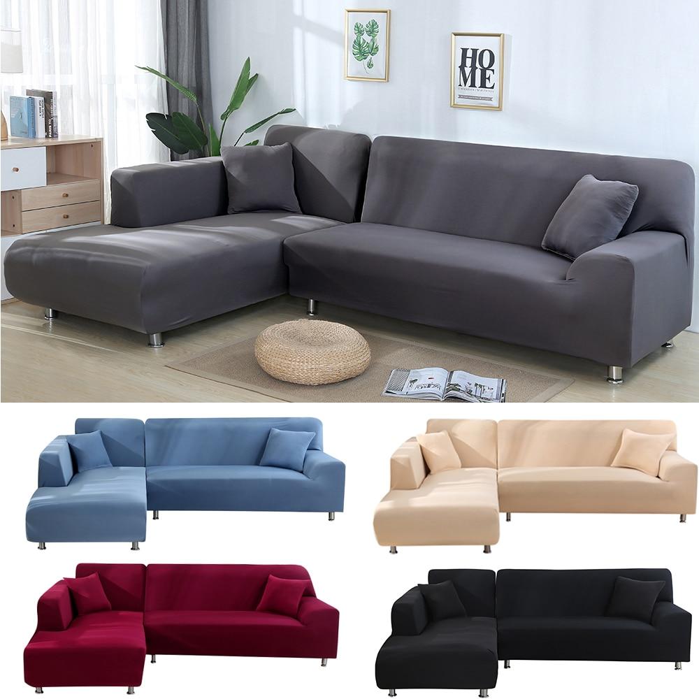 2Pcs L Shaped Sofa Covers for Corner Sofa Living Room Sectional Chaise Longue Sofa spandex Slipcover Corner Sofa Covers Stretch