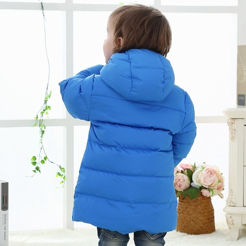 Winter Clothes for Kids White Duck Down Hooded Children's Down Jacket Mid-length Thick Down Jacket Baby Down Jacket enlarge