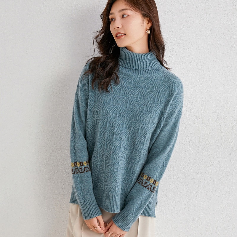 adohon 2021 woman winter 100% Cashmere sweaters and autumn knitted Pullovers High Quality Warm Female thickening Turtleneck enlarge