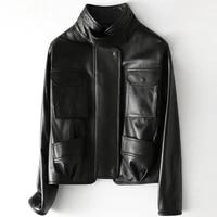 2021 women fashion genuine real sheep leather jacket h44