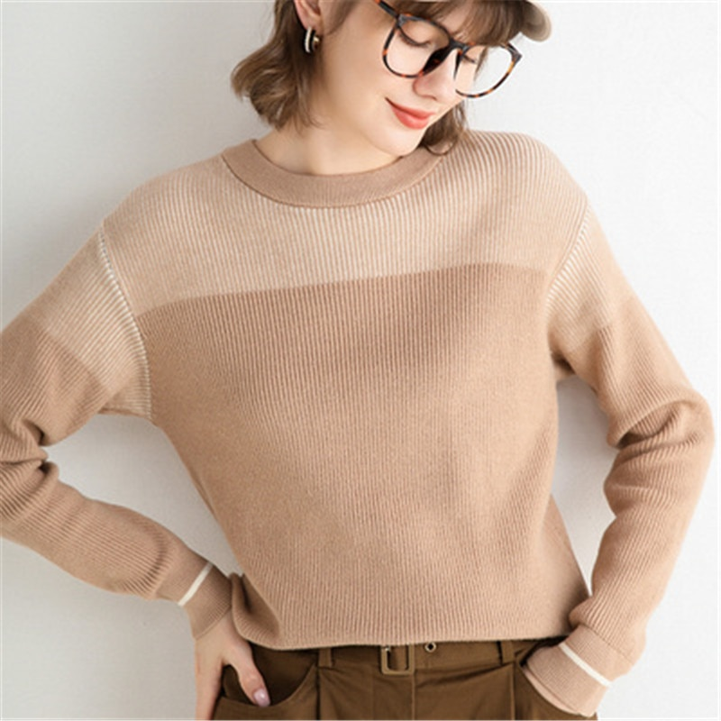 Knitted Splicing Winter Pullovers Women Oversized Warm Sweaters Long Sleeve Top Loose Thickened Knitted Sweater enlarge