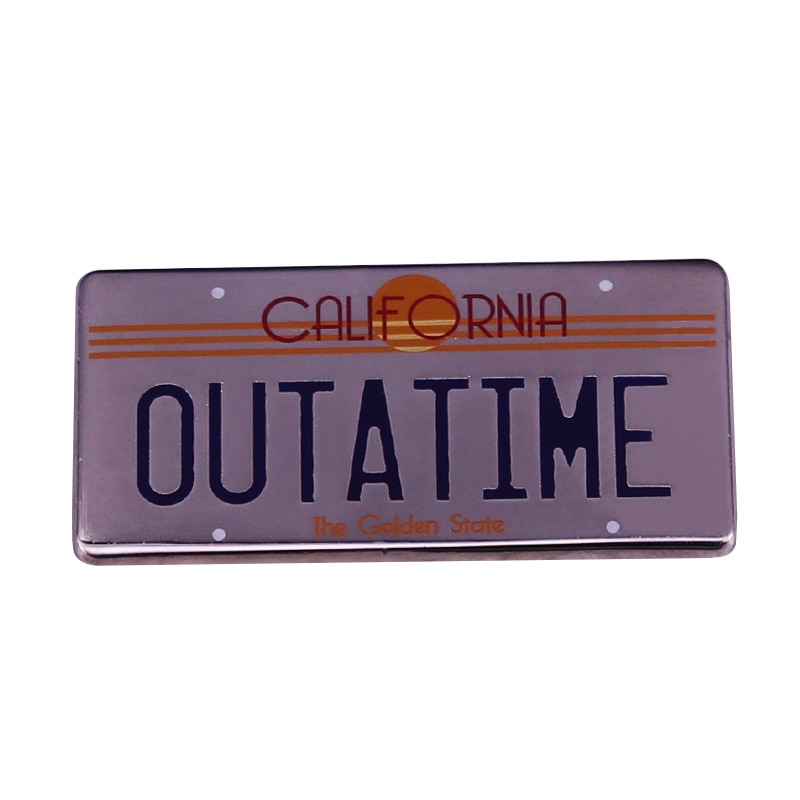 Back to the Future OUTATIME License Plate Enamel Pin Delorean Badge A must have for any BTTF fanatic or movie prop collector!