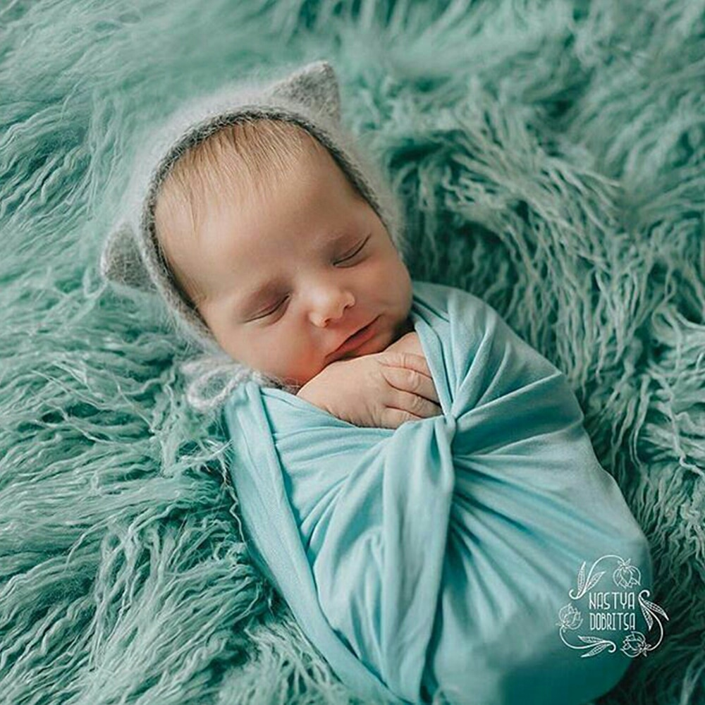 Photo Shoot Accessories 80*50cm Stretchy Knit Cotton Newborn Baby Wraps Swaddle Infant Cover for Little Kid Photography Props newborn photography props mohair knit wraps backdrops set stretchy blanket for baby photo shoot accessories fotografia acessorio