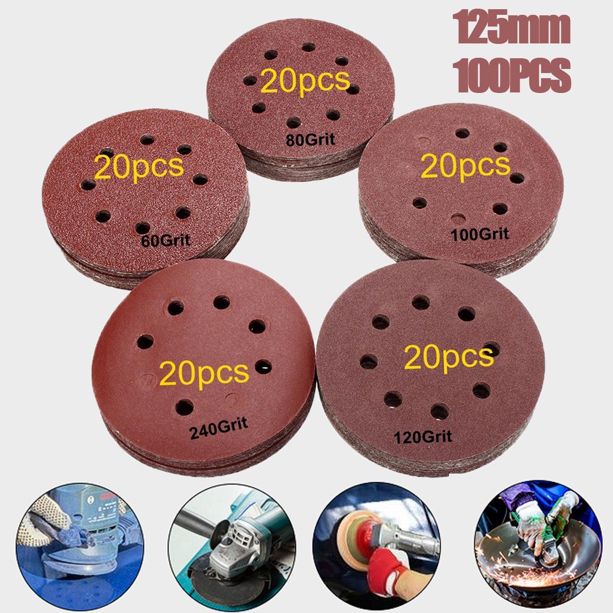 100pcs 125mm 60 80 100 120 240 Grit Round Shape Sanding Discs 8 Hole Sander Sandpaper Polishing Pad Buffing Sheet Each of 20