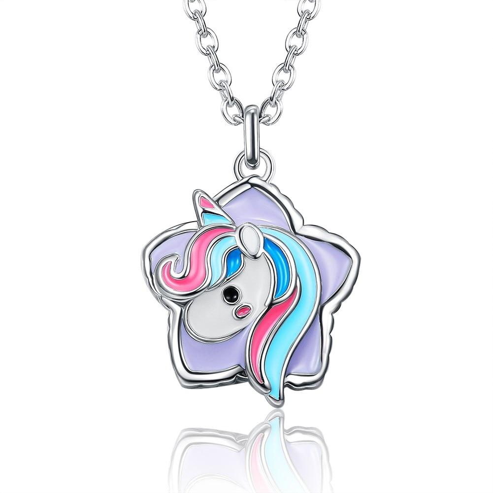 Fashion Platinum Plated Necklace Unicorn Horse Head Lovely Sweet Style for Unisex Children Women LKN18KRGPN1249
