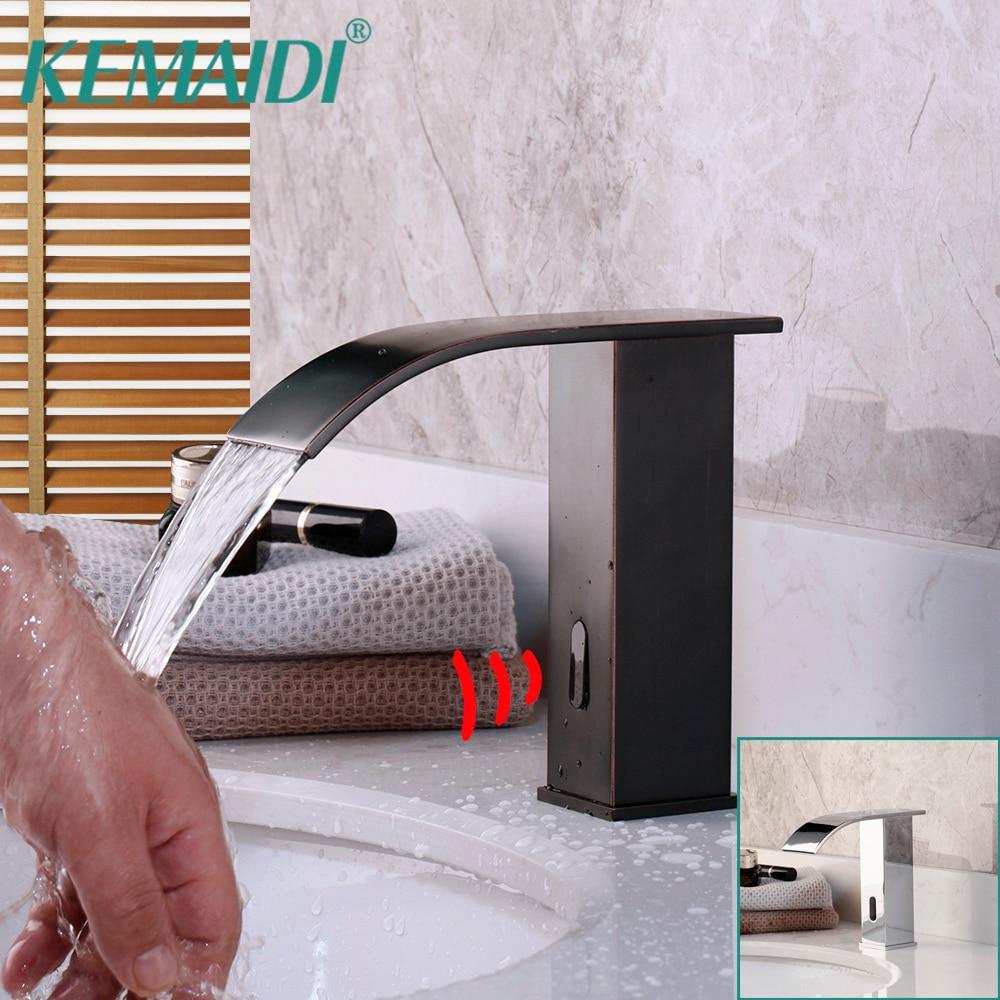 KEMAIDI automática de manos Sensor sólido latón negro esfera cascada baño lavabo grifo mezclador grifo de agua