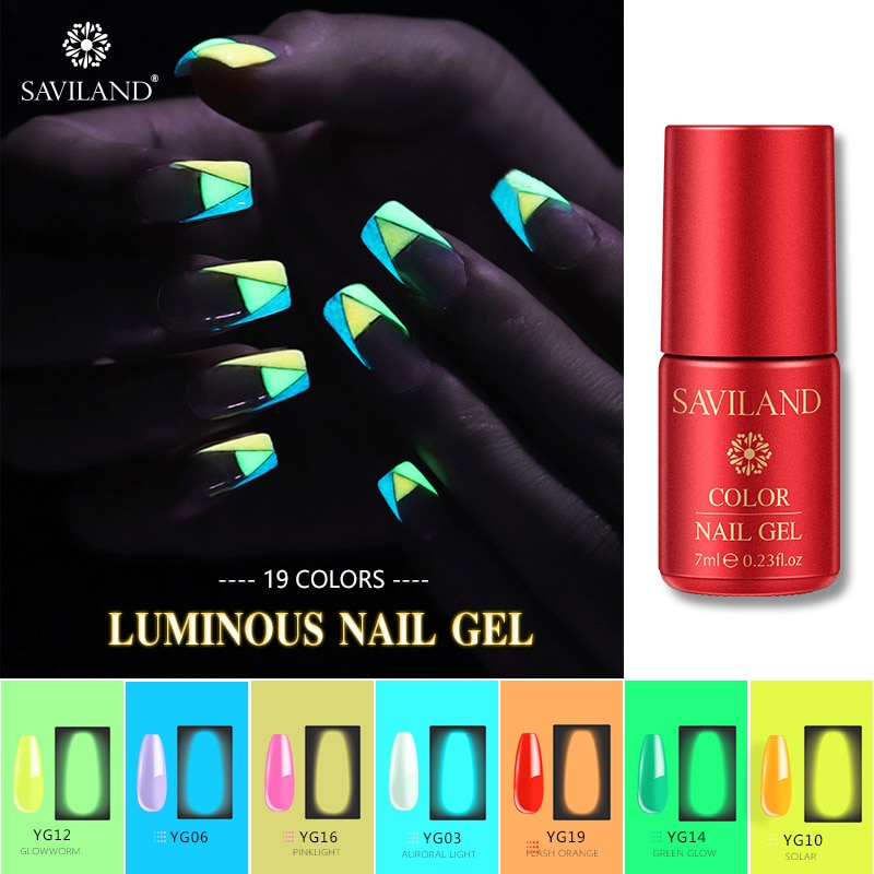 Saviland Luminous Neon Gel Nail Polish Summer Series Fluorescent Colors In The Dark Light Soak Off UV Gel Varnish Glow Nail Art