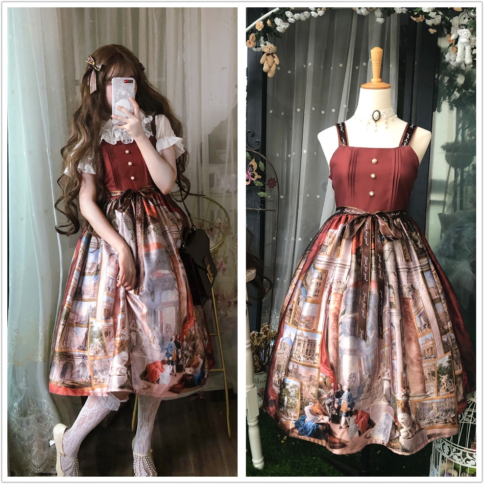 Palácio do vintage pintura a óleo impressão lolita vestido doce cinto retalhos kawaii vestido gothic lolita jsk sem mangas vestido vitoriano