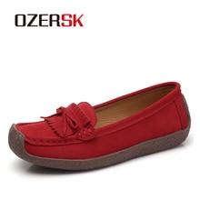 Mocasines OZERSK 2020 de piel para mujer, zapatos planos de Ballet, mocasines deslizantes para mujer, zapatos informales de guisantes extraancho, tamaño 35 ~ 43