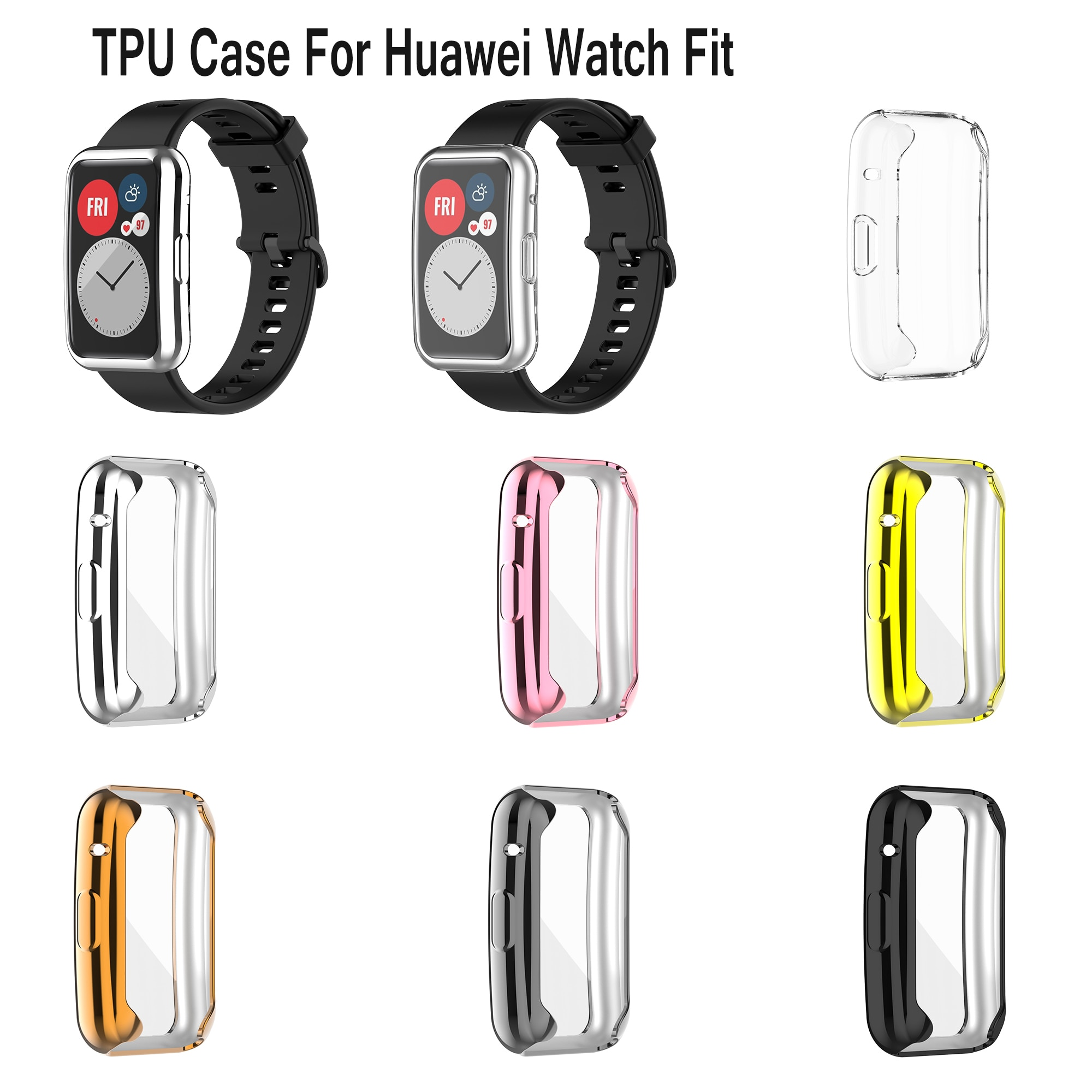 Anti-fall Plating Protective Case for Huawei Watch Fit Screen Frame Cover for Huawei Watch Fit Smart Watch Shell TPU Full Cover tpu soft silicone soft full screen glass protector case shell frame for huawei honor es watch fitting plating protective cover