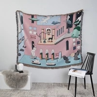 museum adventure throw blanket multifunction sofa covers cobertor tassel dust cover air conditioning blankets for bed room decor