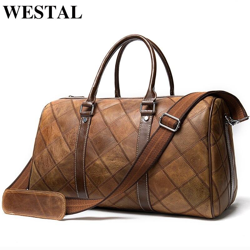 Westal couro duffle bolsa de viagem masculina de couro vintage fim de semana bolsa de viagem sacos de couro genuíno bagagem/tote durante a noite