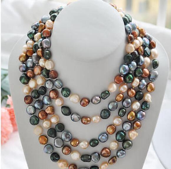 "Joyería collar de perlas 100 ""8-9mm negro café Rosa verde barroco de agua dulce collar de perlas envío gratis"