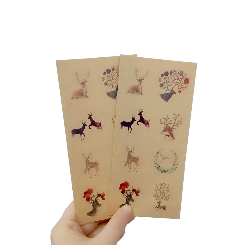 free shipping 800pcs Multi-style cowhide round sika deer cute sealing sticker Painting Diary Scrapbooking Decor Stationery
