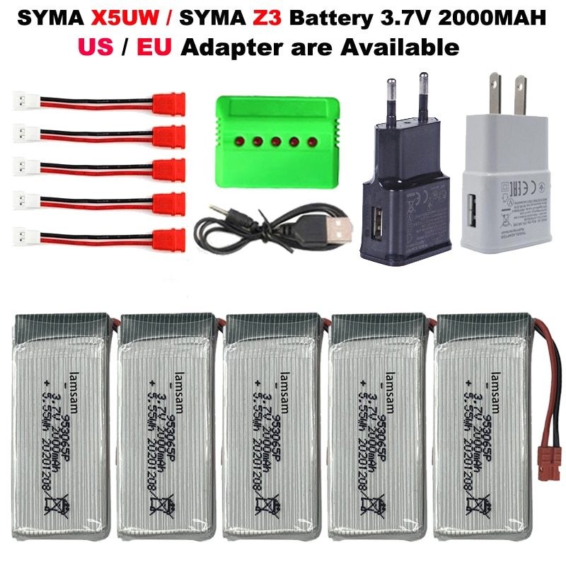 3.7V 2000mAh Upgraded Battery / USB Charger(5in1) for SYMA Z3/X5UW RC Drone RC Quadcopter Spare Parts
