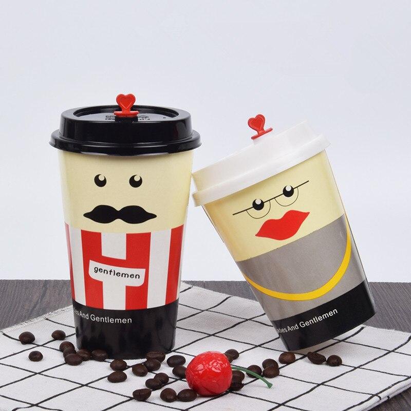 50 Uds. Anti-quemadura gruesa taza de papel desechable café bebida caliente leche té fiesta favor divertida taza para llevar paquete 400ml con tapa
