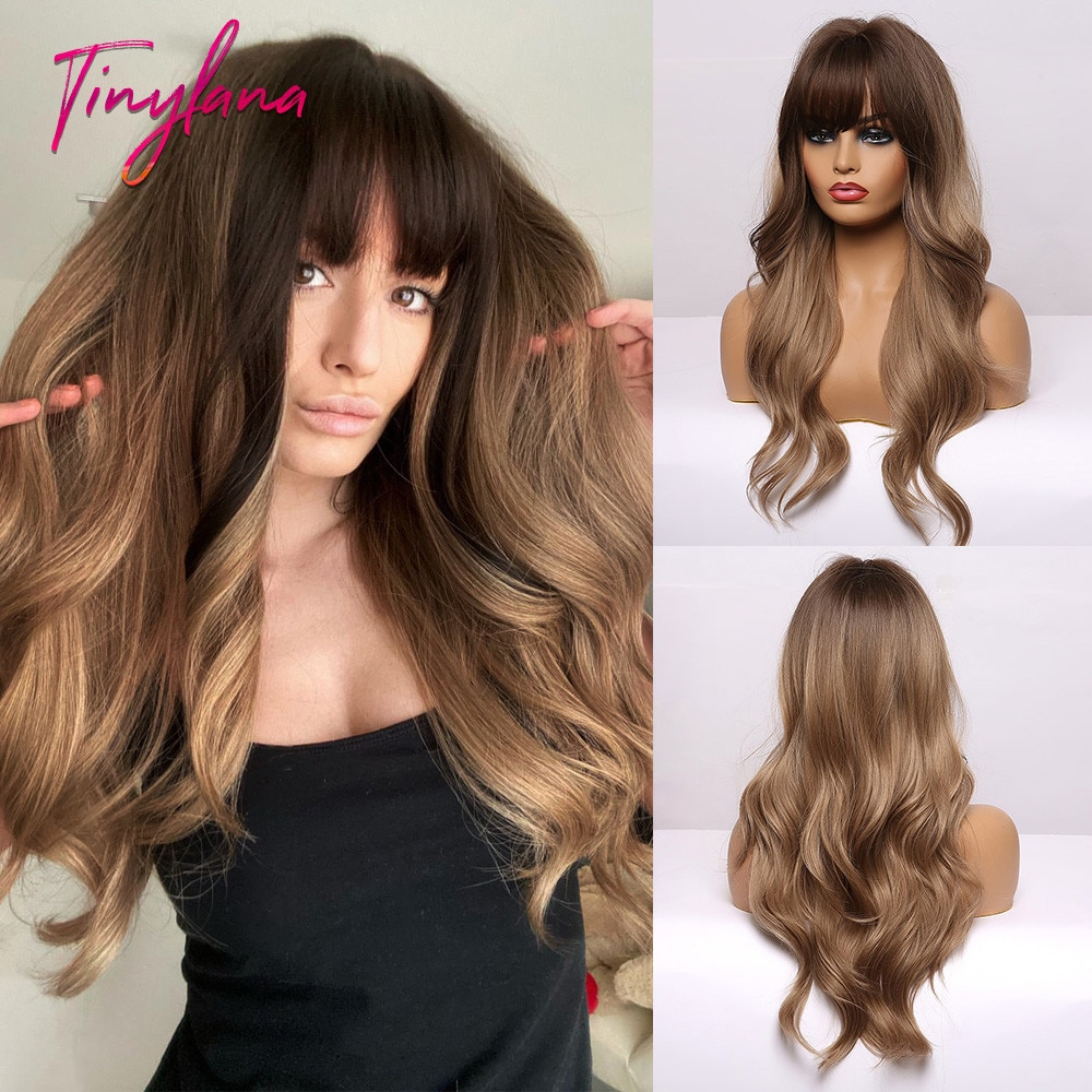 TINY LANA Long Ombre Black Brown Synthetic Wigs with Bangs Natural Wave Hairstyle for Women Cosplay