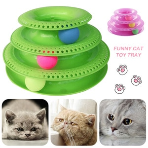 Three Levels Cat Toy Tower Tracks Disc Cat Intelligence Amusement Triple Play Disc Cat Toys Ball Training Amusement Plate