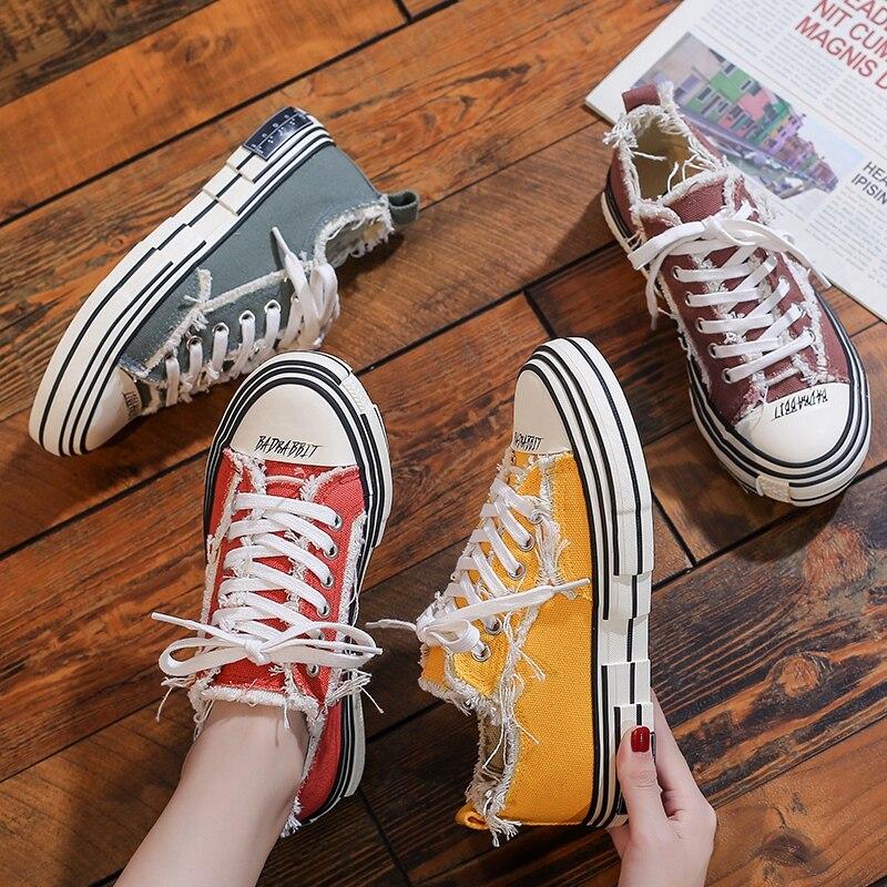 Women's Canvas Casual Vulcanize Shoes Girls Student Sport Sneakers Summer Three Times Vulcanize High