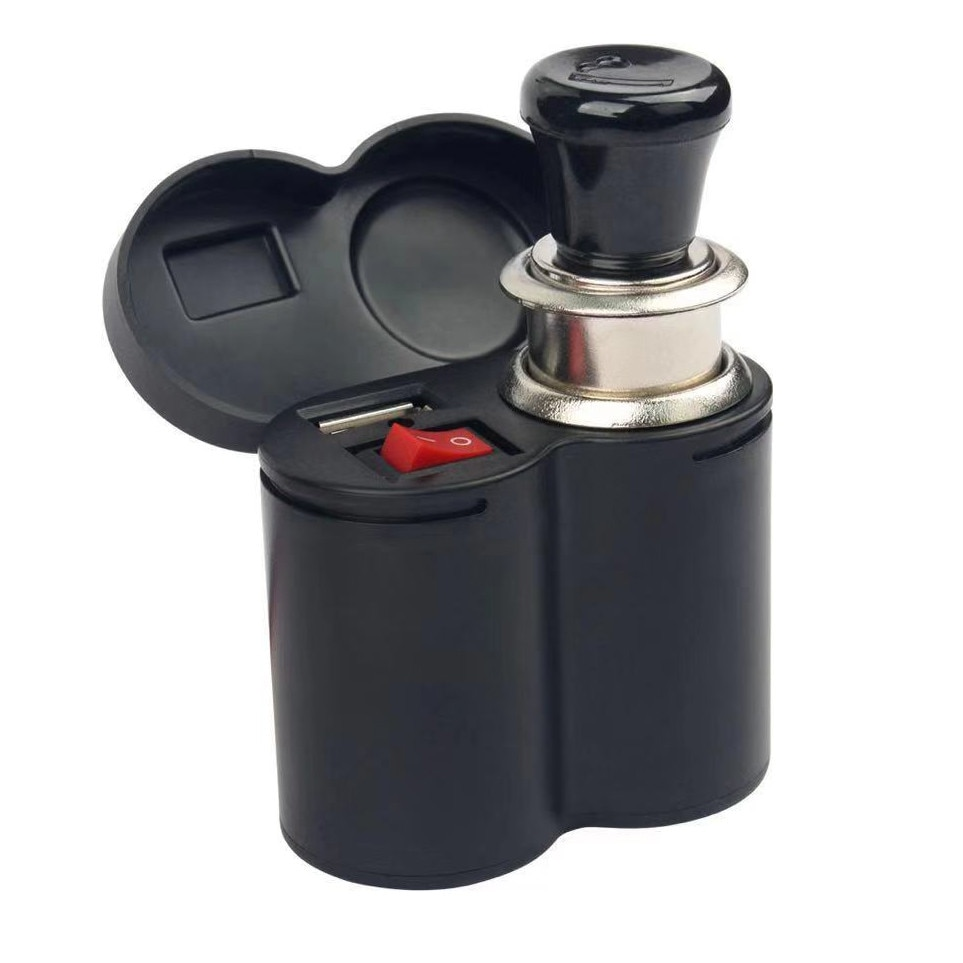 Cargador USB de coche para teléfono móvil, negro, 12V, manillar de motocicleta, Cargador USB, encendedor de cigarrillos, adaptador de enchufe #0