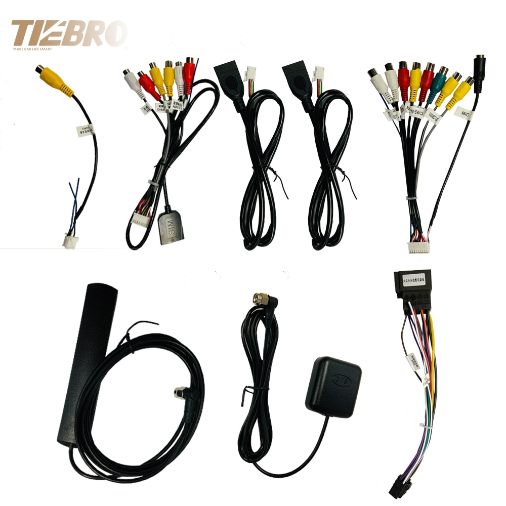 TIEBRO Microphone USB GPS Rear View Camera RCA Output AUX SIM Card Slot Radio Converter 16 PIN 4G Po