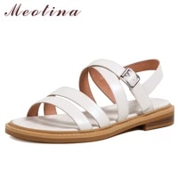 meotina women sandals genuine leather shoes round toe flat sandals narrow band buckle strap ladies footwear 2021 summer beige 40