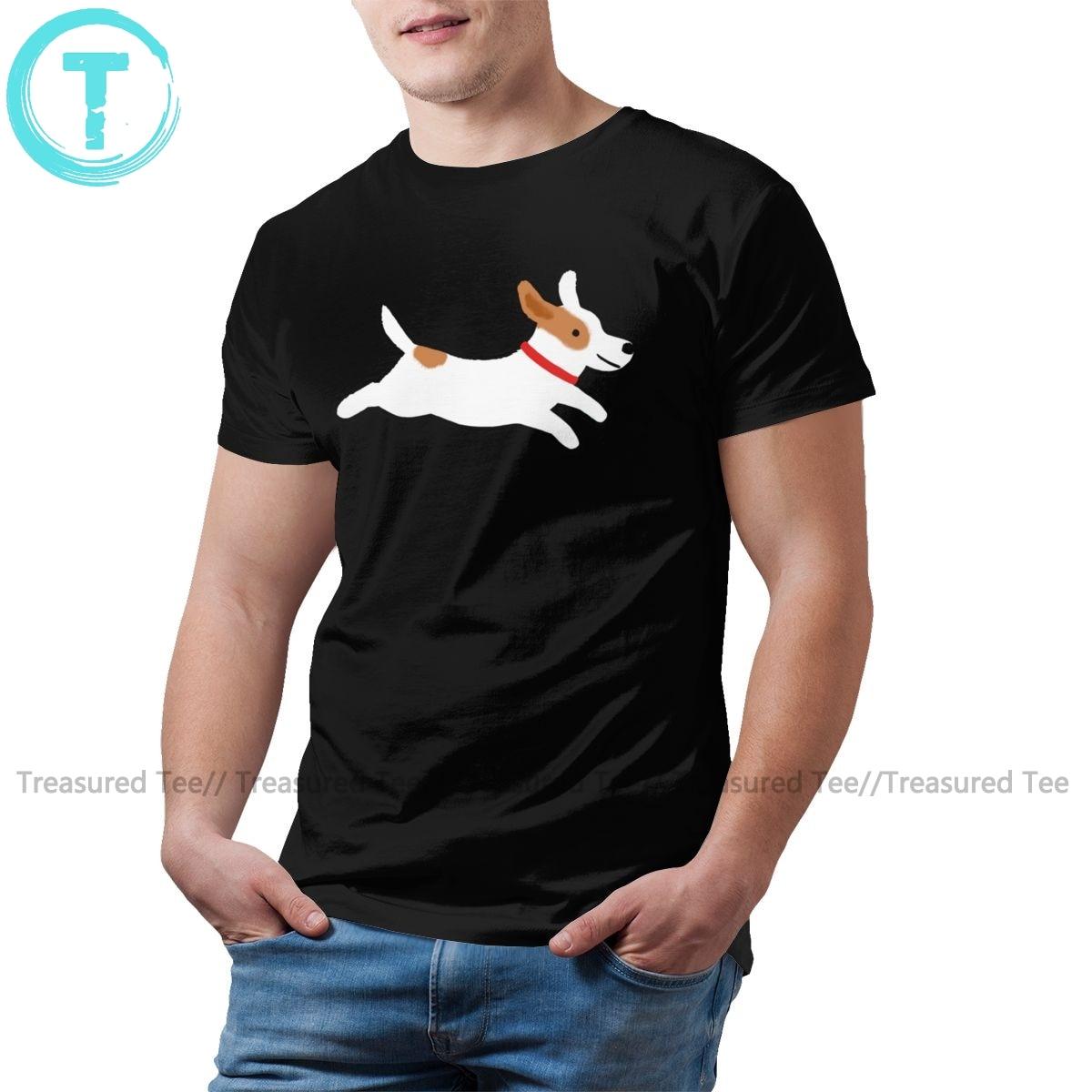 Jack Russell Terrier T Shirt Terrier Running T-Shirt dla psów śliczne 100 procent bawełniana koszulka klasyczna męska koszulka