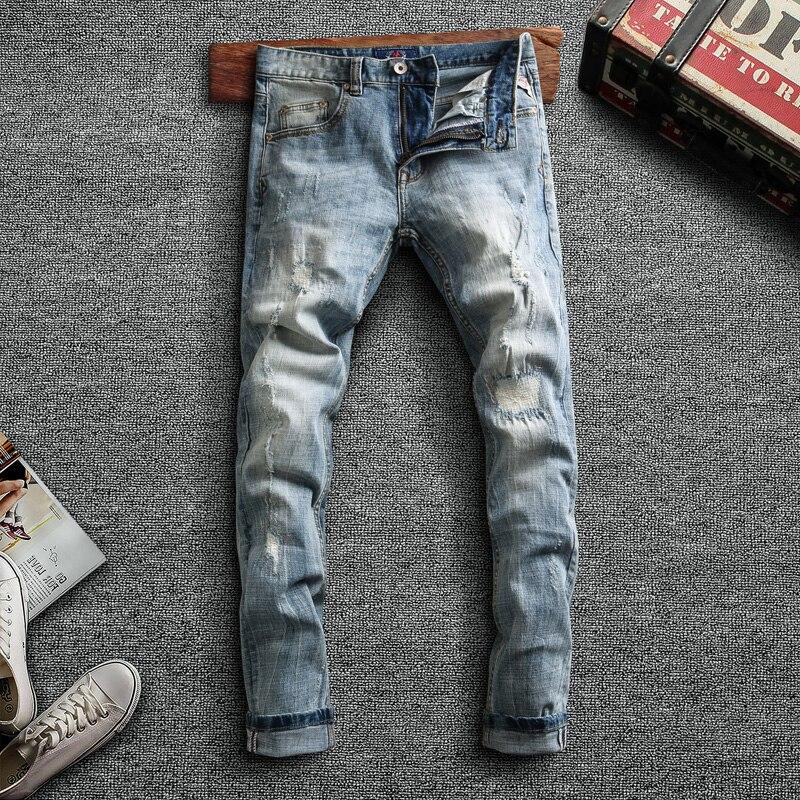 Итальянский Стиль модные мужские джинсы для женщин в стиле ретро светильник синие джинсы с эластичной резинкой на Slim Fit рваные джинсы, джинс...