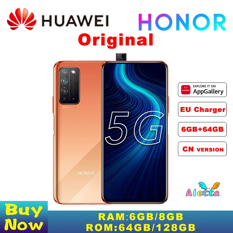 Original HONOR X10 5G SmartPhone 6.63 inch kirin 820 Pop Up Front Camera SuperCharge Fingerprint unlock GPU Turbo