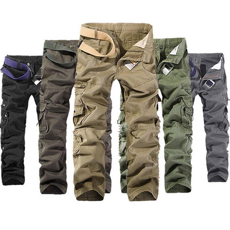 Винтажные мужские тактические брюки, повседневные брюки карго с карманами, хлопковые брюки в стиле милитари, качественные мужские прямые о...