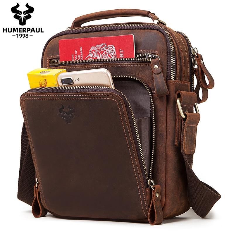 Crazy Horse Leather Men's Shoulder Bag Vintage Messenger Bags Male Bolsos Crossbody Bags  Quality Man's Handbag Travel For ipad