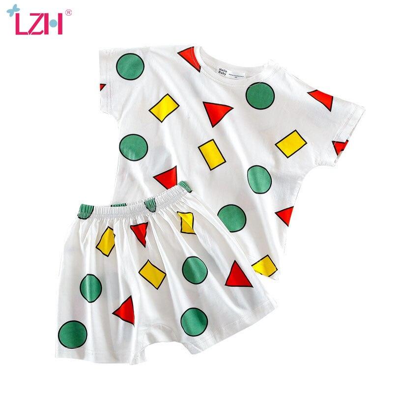 Летние шорты с коротким рукавом LZH 2020, комплект из 2 предметов, повседневная детская Домашняя одежда, хлопковый Пижамный костюм для маленьких мальчиков, одежда для маленьких девочек|Комплекты пижам| | АлиЭкспресс