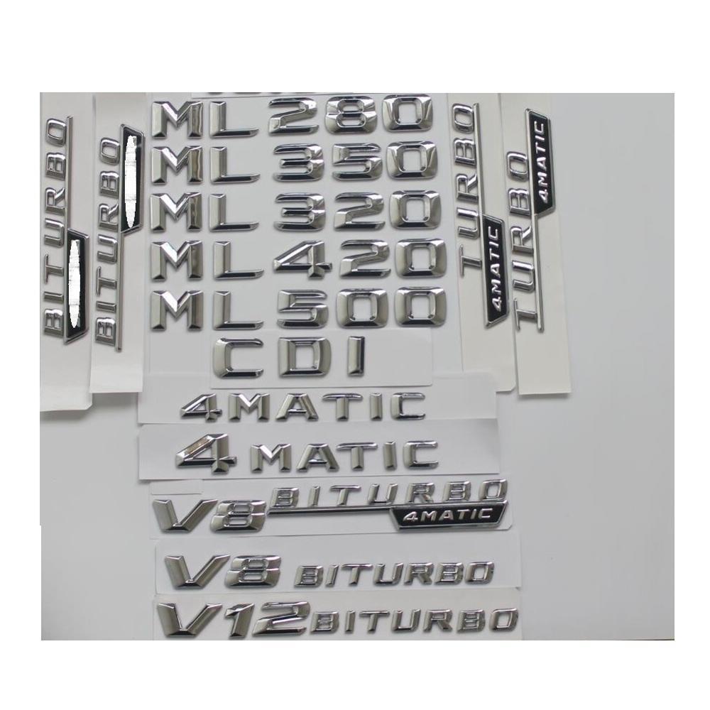 Хромированные эмблемы для багажника, эмблемы для Mercedes Benz ML55 ML63 AMG ML300 ML320 ML350 ML400 ML500 4matic CDI W164
