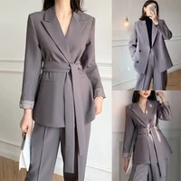 custom made women suits fashion elegant peaked lapel lace up blazer office lady smart casual daily jacket 2 pieces set