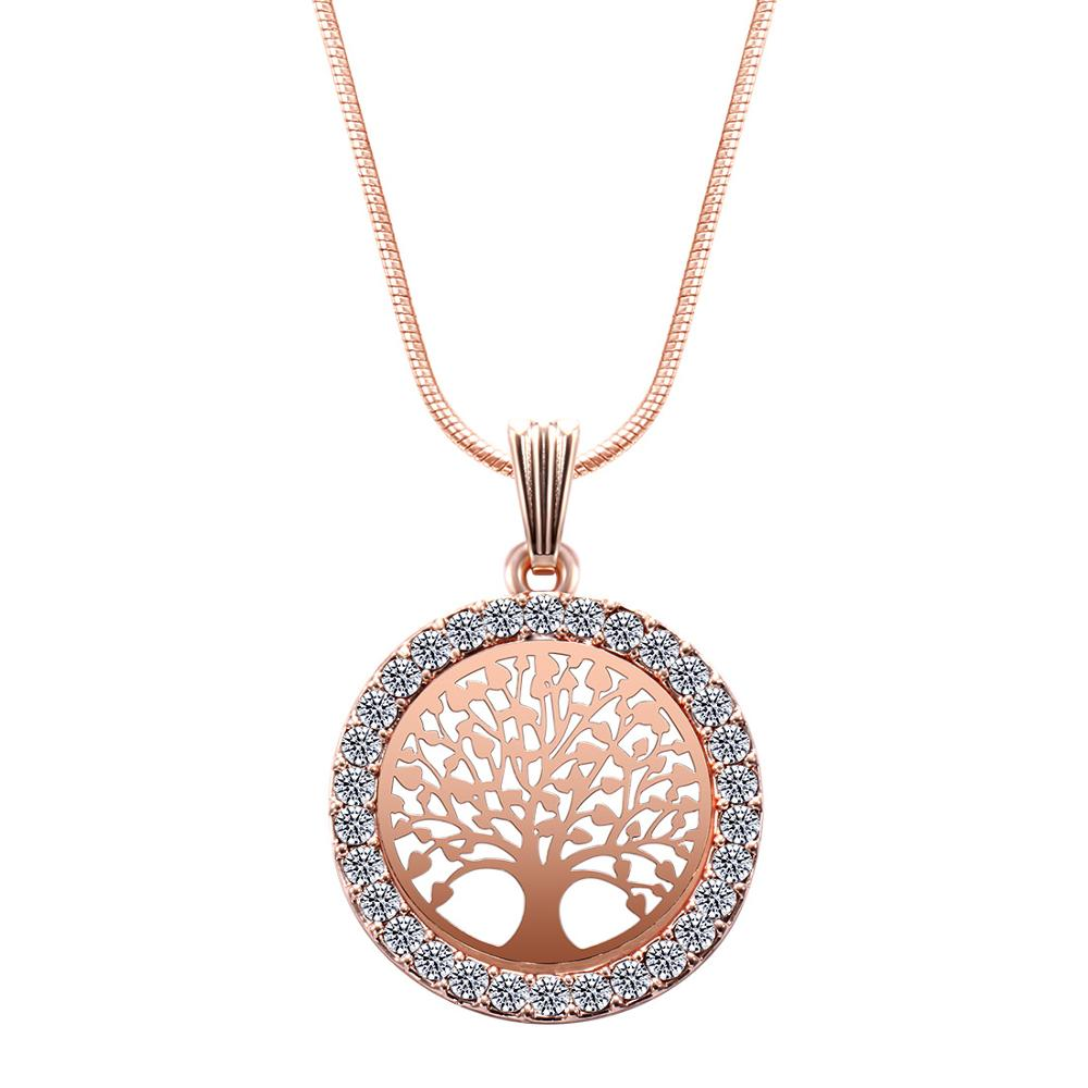 Árvore da vida de cristal redondo pequeno pingente colar ouro prata cores bijoux collier elegante feminino jóias presentes na festa