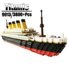 Architecture ville ensemble repères Titanic navire bricolage diamant blocs de construction éducatifs enfants jouets PZX 9913