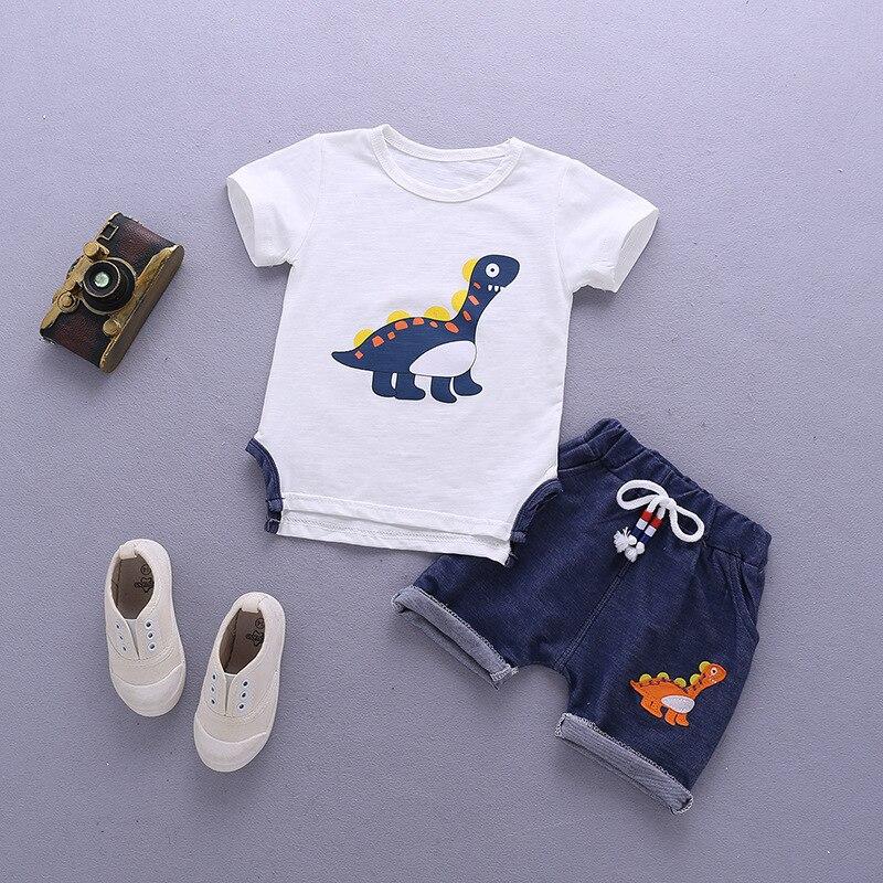 Conjunto de ropa de verano para bebés, ropa de manga corta para niños, ropa de manga corta con estampado de dibujos animados, camiseta de manga corta, pantalones, conjunto de traje para niños