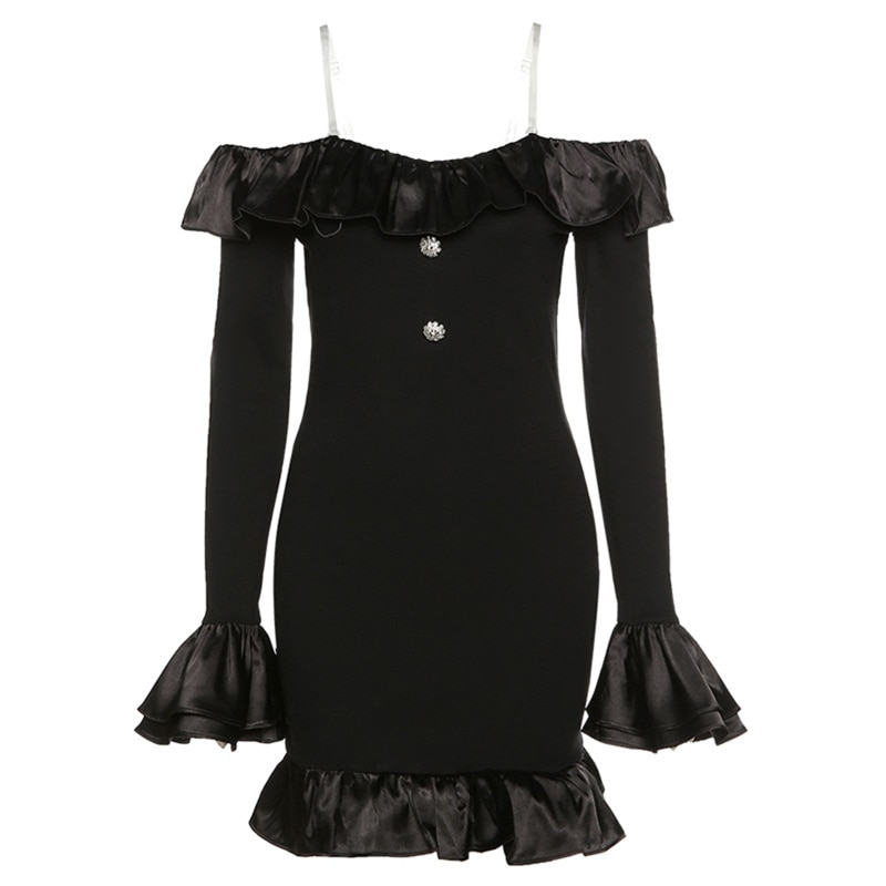 Women Autumn Sexy Flare Long Sleeve Off Shoulder Bodycon Mini Dress Ruffles Patchwork Rhinestone Button Cocktail Party BX0A