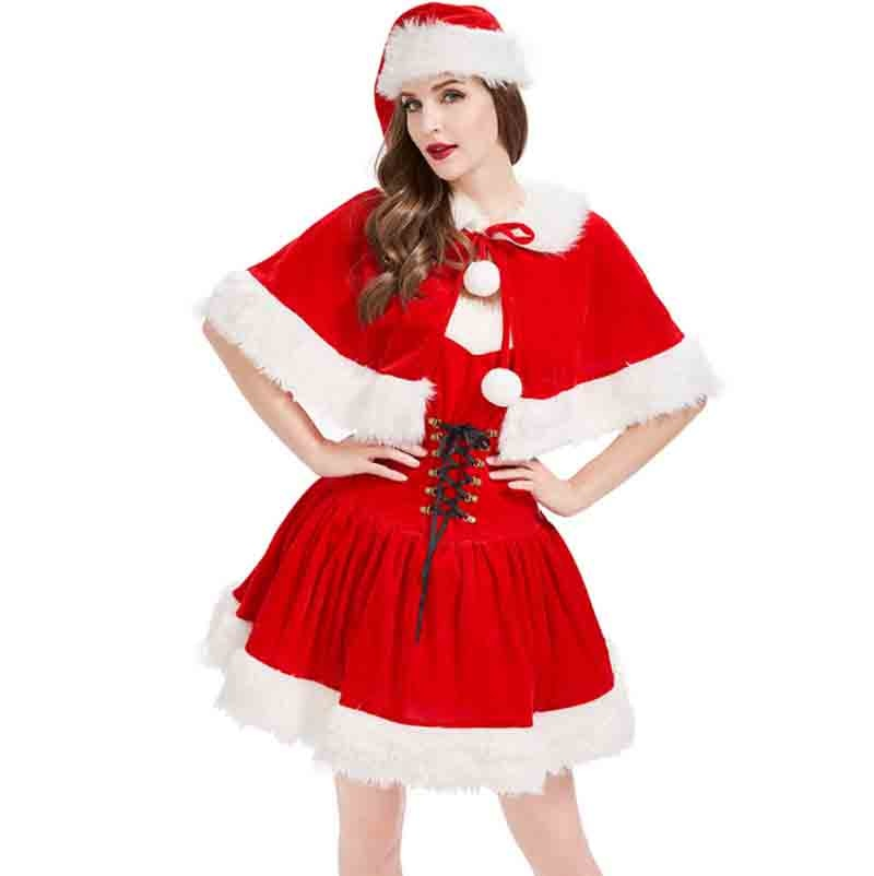 Christmas Costume For Women Sexy Strapless With Clock Red Velvet Dress Christmas Party New Year Costume For Women Plus Size XL