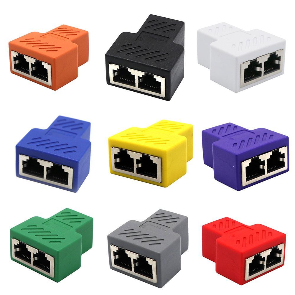 مهايئ عام 1 إلى 2 منافذ أنثى مزدوجة CAT5/6/7 RJ45 الفاصل LAN شبكة الإنترنت محول للتلفزيون التبديل راوتر