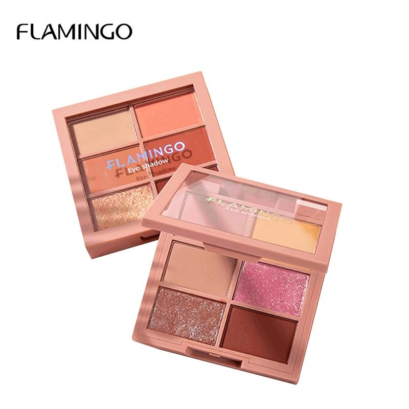 Flamingo glitter esfumaçado sombra pallete profissional cosméticos maquiagem 6 cores moda quente cor da terra fosco sombra lm52004