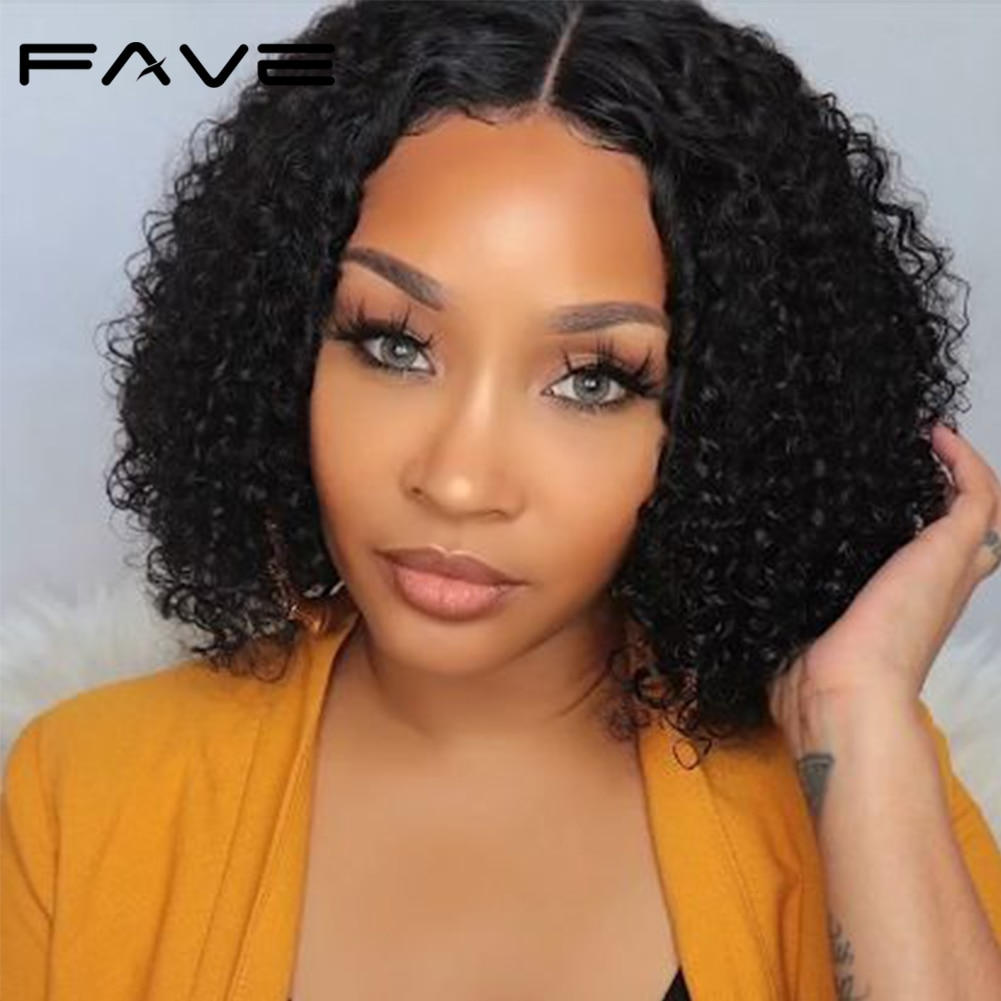 AliExpress - FAVE Curly Lace Front Wigs For Women Kinky Curly 4×4 Lace Closure Bob Wigs Brazilian Curly Human Hair Wigs Prelucked Hairline