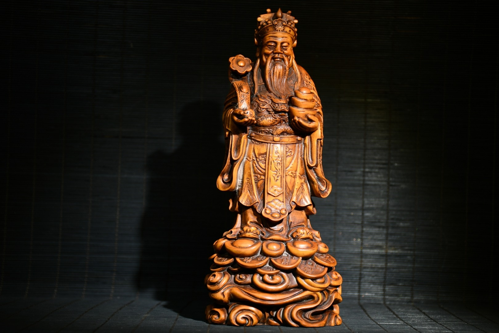 """Home Decor 8"""" China Lucky Old Boxwood Hand-carved Wishful Ingots God of Wealth statue Implication Lucky fortune"""