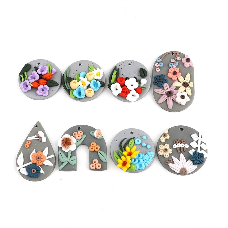 50PCS Gray Background Vivid Flower Hanging Cute Polymer Clay Earrings for Women Fashion Jewelry Making Unique Design Earrings