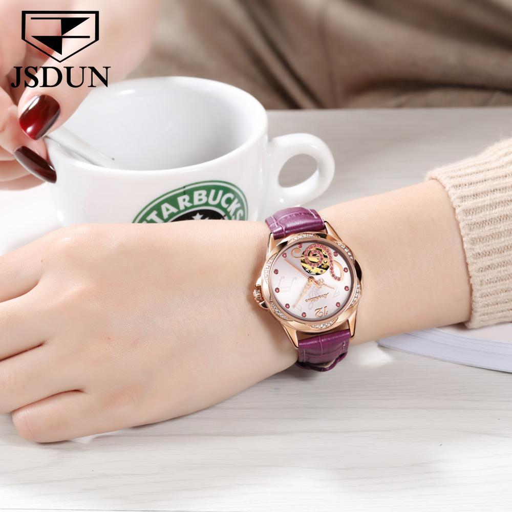ladies fashion watch sapphire note Ceramic steel/leather strap watch women mechanical automatic JSDUN top brand luxury female enlarge