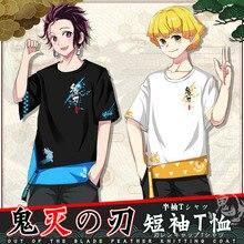 Anime Demon Slayer Kimetsu no Yaiba Casual Short Sleeves T-shirt Summer Unisex Harajuku Kamado Tanjirou Cotton Loose Tops